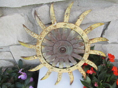 "Vintage 18-1/4"" Rotatory Hoe 16 Spike Steel Wheel Garden Art SteamPunk Rustic"
