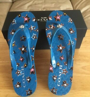 2be7cb1f1f7 NIB Coach Womens Abbigail Star Rubber Denim Flip Flops Sandals Blue Stars  Sz 7-8