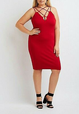 9565a6de71a23 NWT CHARLOTTE RUSSE Plus Size Strappy Bodycon Red Dress 2X -  12.99 ...