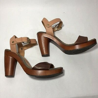 012eb8236e6 Chie Mihara Womens Heels Wood Platform Two Tone Brown Leather Open Toe  Sandals