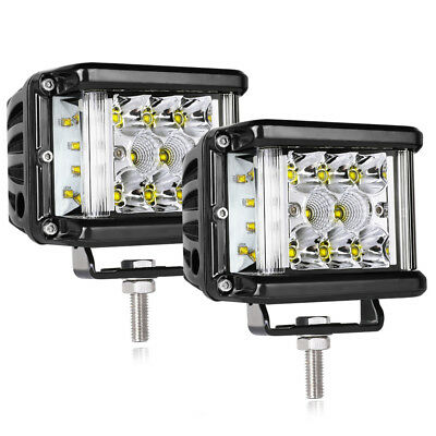 4'' Side Shooter Cube Work Pods LED Lights 96W Spot Flood Tri Row OffRoad 4X4WD