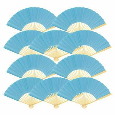 """9"""" Turquoise Silk Hand Fans for Weddings (10 Pack)"""