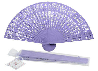 "8"" Lavender Chinese Folding Wood Panel Hand Fan w/ White Organza Bag for Wedding"