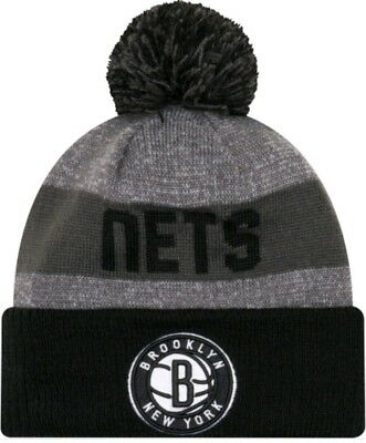 e9228cb2 BROOKLYN NETS - NEW ERA BIGGEST FAN KNIT CUFFED POM BEANIE HAT GREY AND  Black