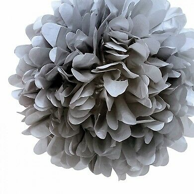 20'' Charcoal Gray Tissue Paper Pom Poms Flowers Balls, Decorations (4 Pack)