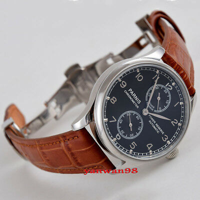 Parnis 43mm black dial deployment clasp power reserve seagull automatic watch