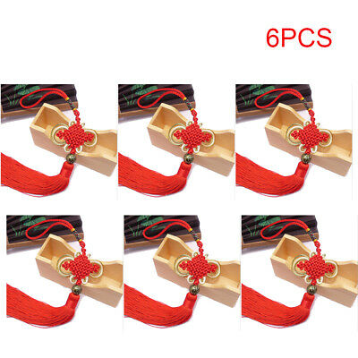 6pcs Lucky Chinese Knots Tassel Home Car Decoration New Year Talisman Gift Red