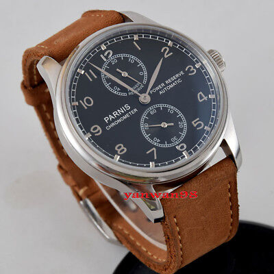 Parnis 43mm black dial polished bezel power reserve seagull automatic watch P05