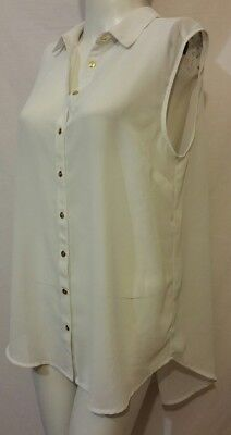 f24402bf7 Atmosphere women's White Sleeveless Woven Button Down Blouse Size 10 New (# 10e