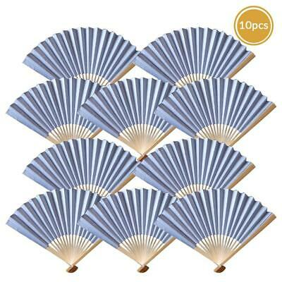 "9"" Silver Paper Hand Fans for Weddings, Premium Paper Stock (10 PACK)"