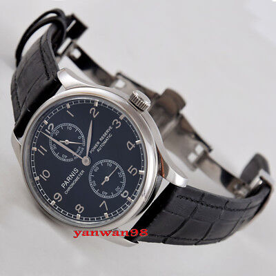 Parnis 43mm black dial silver marks power reserve seagull 2524 automatic watch