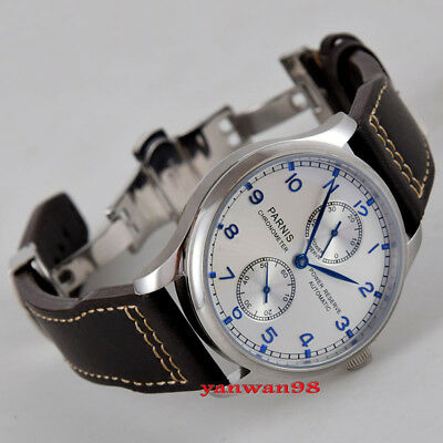 Parnis 43mm white dial polished bezel power reserve seagull automatic watch P03