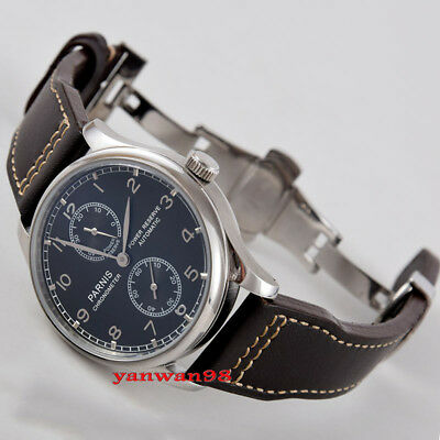 Parnis 43mm black dial polished bezel power reserve seagull automatic watch P06