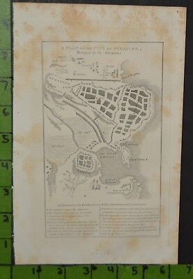 Antique 1824 Map of Ancient Greek Battle of Athens and Syracuse