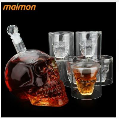 7pcs/set Crystal Skull Head Shot Glasses Cup Set with 700ml Wine Glass Bottle Wh