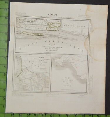 Antique Large Map of French Colony Senegal 1818