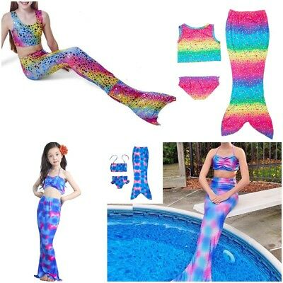 Au Girls Swimmable Mermaid Tail Sea Maid Bikini Swimwear Swimming