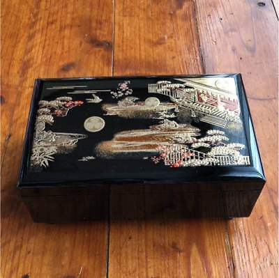 Antique lacquerware jewelry box Japan retro popular rare beautiful EMS F/S!