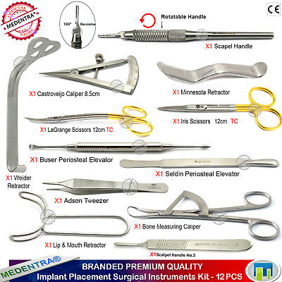 Surgical Kit for Implant Placement Tissue Scissors Forceps Bone Mapping Calipers