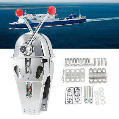 Marine Boat Twin Control Lever Engine Outboard Handle Top Mount Stainless Steel