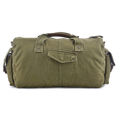 Vintage Military Canvas Leather Duffel Bag Travel Weekend Sports Bag Oversize