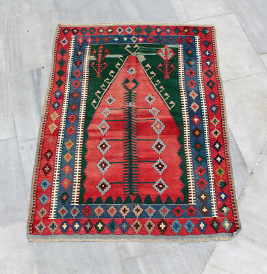 "Handmade Anatolian Turkish Tribal Konya Obruk-Prayer Area Kilim Rug 6'3"" x 4'6"""