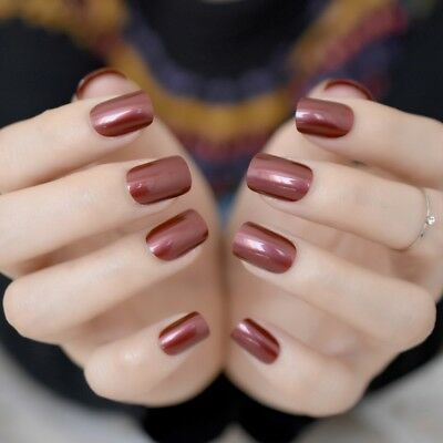 Wine Red Acrylic Full Nail Tips Square Pre-designed Nail Full Wrap Press on Nail