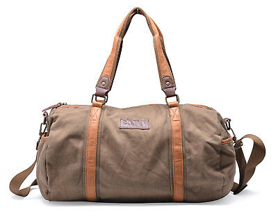 GOOTIUM CANVAS DUFFEL Bag Vintage Travel Tote Weekend Holdall Sports ... d0b6a45241a84