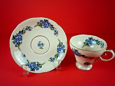 Saji Numbered #8/204 Fancy China Blue And Purple Floral Tea Cup And Saucer Set