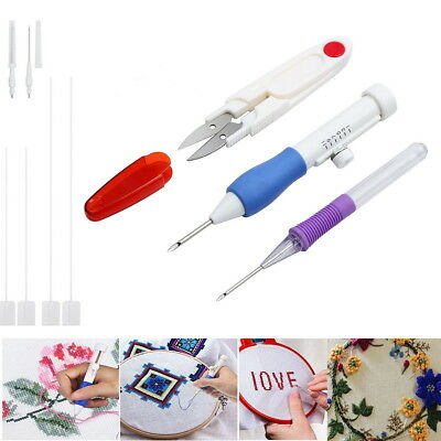 Magic Embroidery Pen Punch Needles Threaders Stitching Punch Pen Craft Tools Set