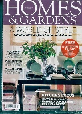 Homes & Gardens Magazine March 2018  ~ With Free Inspiring Bathrooms Mag ~ New ~