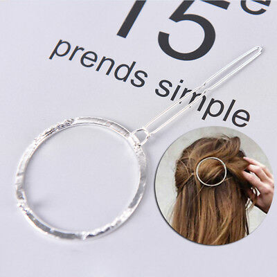 2x Fashion Chic Minimalist Style Geometric Round Hairpin Hair Clip for Women