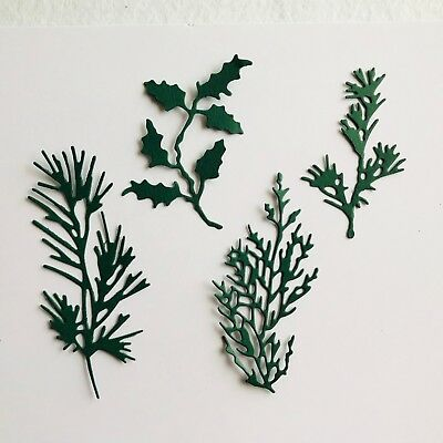 4 Christmas foliage paper die cut card toppers embellishments pine holly etc