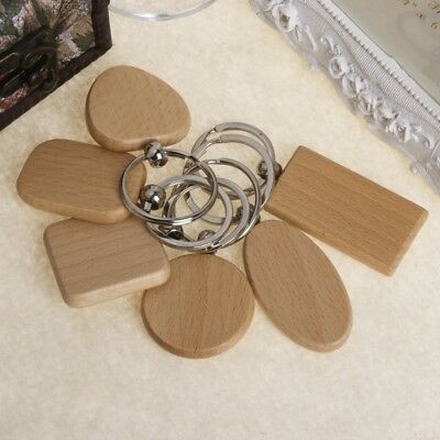 Natural Wooden Keychain Key Ring Round Square Anti Lost Wood Accessories Gifts