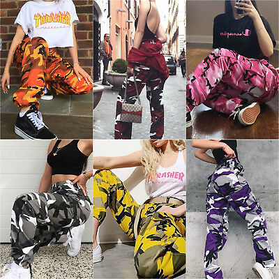 Women Cargo Trousers Casual Hip Hop Pants Military Army Combat Camo Hiking Jeans