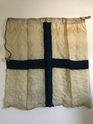 VINTAGE LINEN TAN & BLUE CROSS FLAG  33 x 36  with  MARKING Wartime Flag Framing