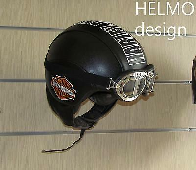 Casco Harley Davidson personalizzato in pelle Bar Shield vintage custom