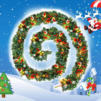 XMAS LARGE 2.7m LUSSO LIGHT UP LED PRE LIT GARLAND DECORATO NATALE NUOVO