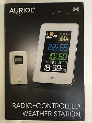AURIOL Radio-Controlled Weather Station clear large display Coloured LCD