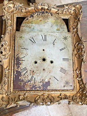 Cast Metal Grandfather Clock Face Original Painted Swan Rust Roman Numerals Star