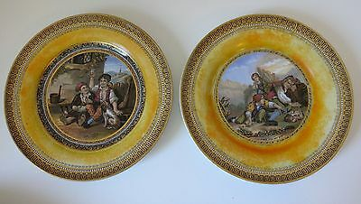 Pair 19th cent. PRATT ware plates 'I see you my boy ' & one plate untitled 7""