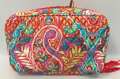 Vera Bradley Blush and Brush Make up Case - Paisley In Paradise- Solid Interior