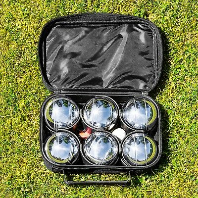 6 Piece French Boules Set - Chrome Plated Boules - Includes Measuring Tool & Bag