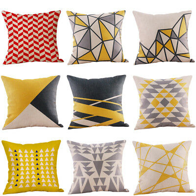 Mustard Pillow Case Yellow Geometric Design Fall-Autumn Cushion Cover Decorative
