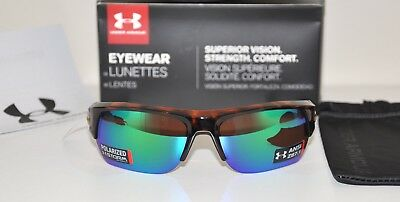 b15c669225 UNDER ARMOUR BIG SHOT SUNGLASSES Shiny Crystal Tort   Green Storm Polarized  NEW