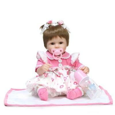 NPK 16 Inches 42cm Reborn Baby Two Pigtail Soft Silicone Doll Handmade Lifelike