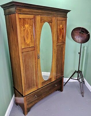 An Antique Edwardian Mahogany Inlaid Wardrobe ~Delivery Available~