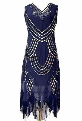 1920s FLAPPER DRESS GATSBY CHARLESTON DECO SEQUIN COCKTAIL VINTAGE PARTY COSTUME