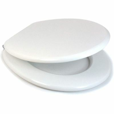 White Mdf Croydex Alaska Toilet Seat With Chrome Hinges New & Boxed