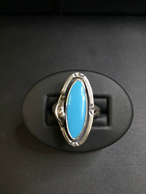 Vintage Sterling Silver and Turquoise Ring Custom Made in Mexico